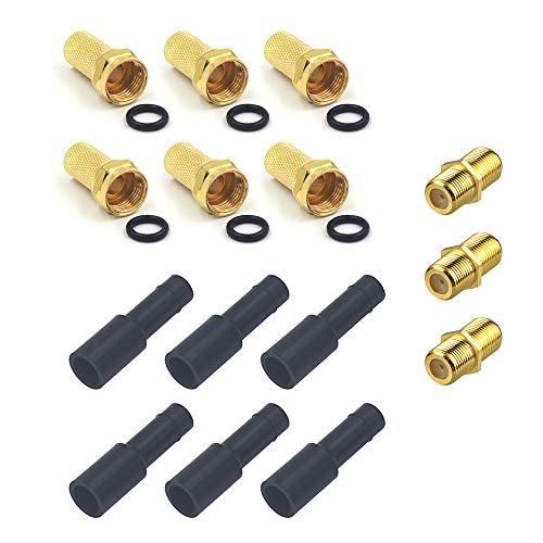 VCE F Stecker 7mm mit Gummidichtung breite Mutter F Kupplung Gummitüllen Wetterschutztüllen für Koxialkabel Antennenkabel