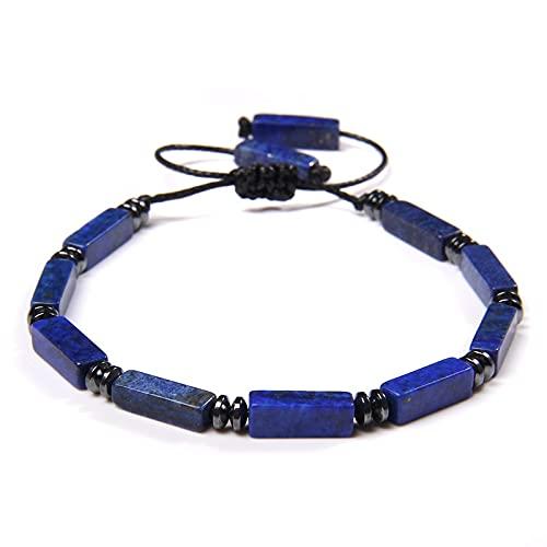 YUNHE Pulseras rectangulares de lapislázuli para Hombre, Pulsera con Dije de Rebanada de hematita, Brazalete Ajustable con Cuerda Negra para Hombre, joyería para Mujer, Regalo