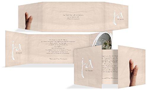 Hochzeitskarten: Einladung zur Hochzeit Fingerpaar, hochwertige Einladung zur Heirat inklusive Umschläge | 15 Karten (format: 215.00x105.00mm) color: Orange