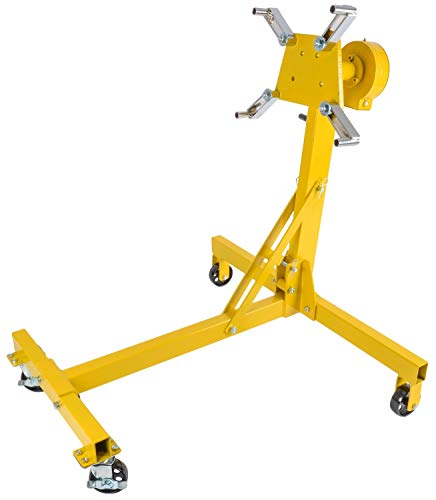 JEGS Folding Engine Stand | Geared Rotating Head | Yellow Finish | 1000 LBS Capacity | 360 Degree Adjustable Mounting Head | 4 Ball-Bearing Swivel Caster Wheels | Heavy-Duty Steel Frame
