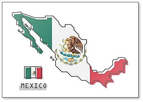 Imán para nevera con diseño de mapa y bandera de México