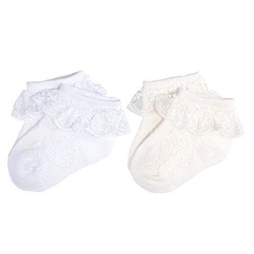 Epeius Baby-Girls Eyelet Frilly Lace Socks Cotton Rich Infant Girl Princess Ankle Socks White/Beige(Pack of 2) 6-12 Months