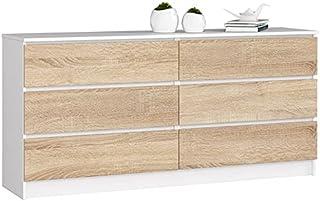 ADGO K160 Commode moderne avec 6 tiroirs L 160 x l 40 x H 77 cm universelle pour couloir, salon, lobby finition mate (livr...