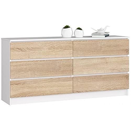 ADGO K160 - Comò moderno con 6 cassetti, 160 x 40 x 77 cm, universale, per corridoio, soggiorno, finitura opaca (spedizione in 3 confezioni) (bianco/Sonom)