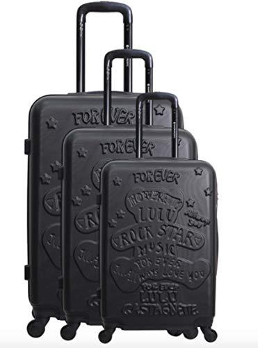 Lulu Castagnette - Juego de 3 maletas de viaje (ABS sólidos, ligeras, 4 ruedas con cerradura...