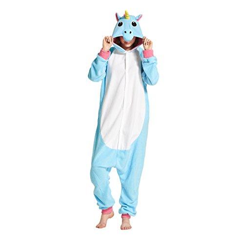 Hstyle Adulte Unisexe Onesies Kigurumi Pyjamas Animal Costumes De Cosplay De Bande Dessin? V?ements De Nuit Bleu Licorne S