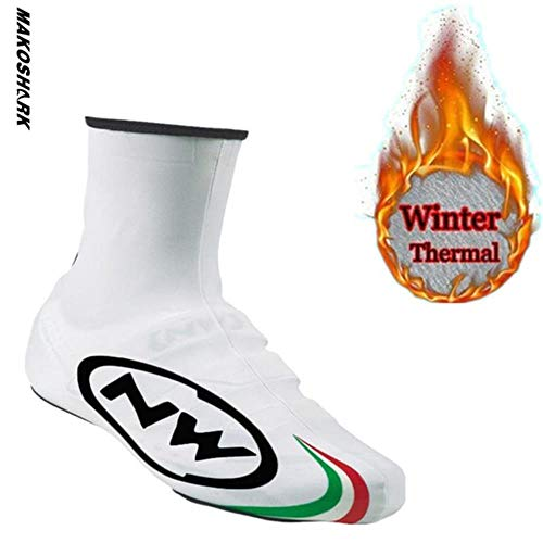 YJQ New Winter Thermal Cycling Shoe Cover Sport Mans MTB Bike Shoes,White,XL
