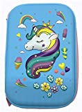 Unicorn Pencil Case 3D for Girls | Hardtop Pen Holder Big Size with Compartments Anti-Shock| Kids School Supply Box Stationery Organizer Cosmetic Pouch Bag (Blue)