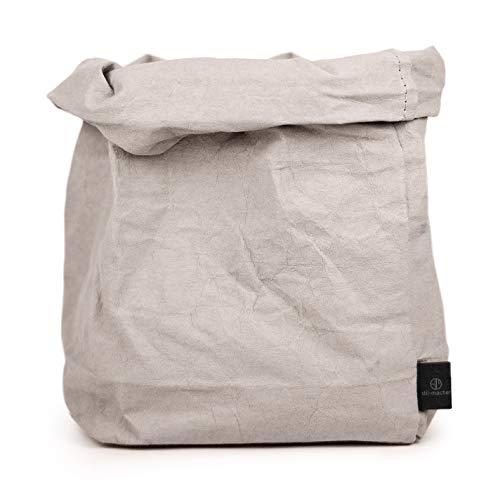 stil-macher Designer Krempelkorb Gr. XL - 21x21x35cm | Aufbewahrungskorb aus waschbarem Papier | Lederoptik VEGAN | Deko-Box | Geschenkbox | Papierkorb | in Zwei tollen Farben … (Grau)