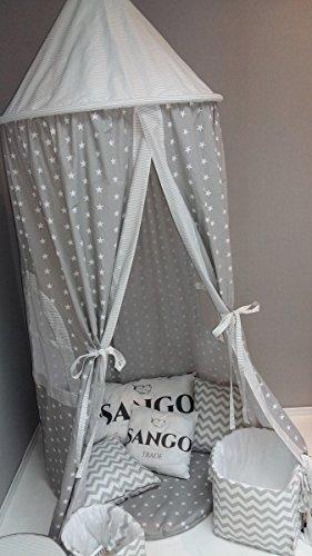 KempKids Baldaquin Lit Tente Enfants gamins Dôme Coton Moustique Net Jouer Tente Bien pour Bébé Taille: 70 x 215 cm étoiles grises et rayures grises