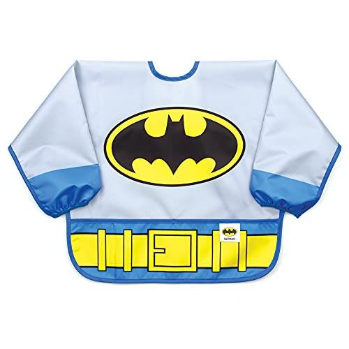 Bumkins Sleeved Bib Baby Bib, Toddler Bib, Smock, Waterproof Fabric, Fits Ages 6-24 Months – DC Comics Batman