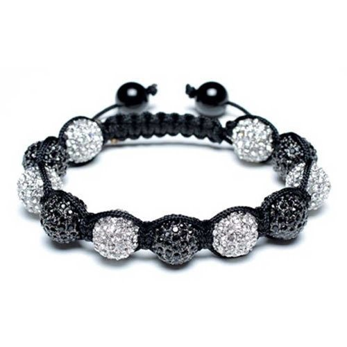 Bling Jewelry Black and White 10MM Pave Crystal Disco Ball Shamballa Inspired Bracelet for Women for Men Black Cord String Adjustable