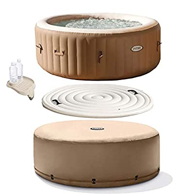 Intex PureSpa 77 Inch 4 Person Inflatable Hot Tub Spa with Cup Holder & Cover