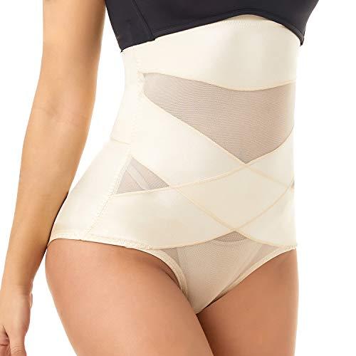 COHTB Women s Tummy Control Shapewear Panties Hi-Waist Body Shaper Underwear Butt Lifter Slimming Briefs Beige