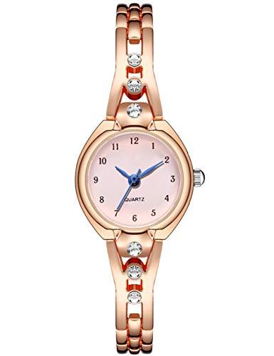 Relojes para Mujer Reloj De Pulsera Resistente Al Agua con Correa De Diamantes De Acero Inoxidable De Oro Rosa para Mujer Reloj De Pulsera Analógico Minimalista Clásico Elegante De Moda para Niñas