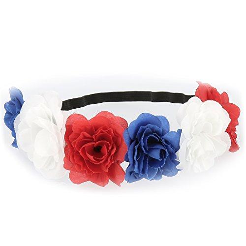 Headband Fleurs Bleu Blanc Rouge - Bandeau Cheveux - Couronne Fleurs - Accessoire Cheveux