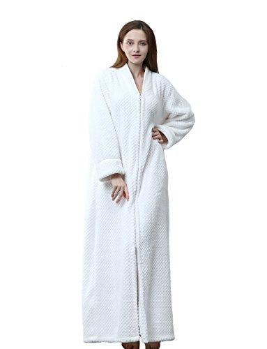 Belloo Bademantel für Damen, weich, flauschig, mit Reißverschluss Gr. X-Large, elfenbeinfarben