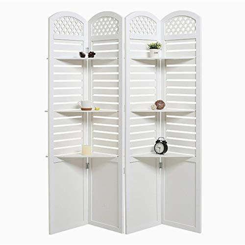 Modern Living Crafts Decorative & Hand Crafted Wooden Room Divider Screen Wooden Partition with Three Display Shelves Room Separator
