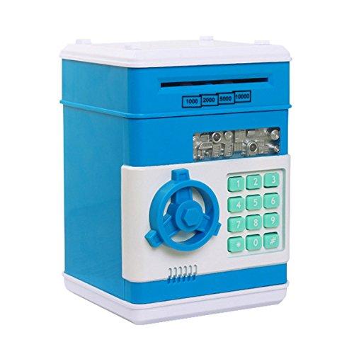 Netspower Spardose, Sparbüchse Digitale Für Kinder, Mini ATM Automatische Sparschwein - 19.3*13.5*12.5cm(Blau)