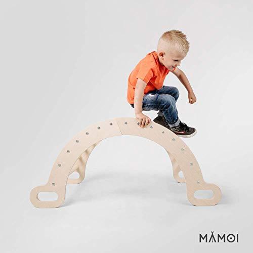 Kletterbogen: MAMOI Triangle Gym Dreieck mit Rutsche Kletter Wippe Holz