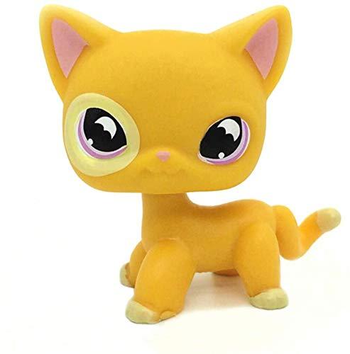 LPS-L Rare FiguresRare Mini Pet Toys #855 Orange Yellow Short Hair CAT Purple Moon Eyes Animal Figure GiftCollie Great Dane Shorthair Dachshund Cocker Spaniel