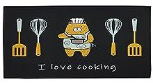 Alfombras Cocina Lavable Antideslizante Alfombrilla de Goma Base TPR Alfombra de Baño Alfombrillas Cocina (50_x_100_cm, I Love Cooking)
