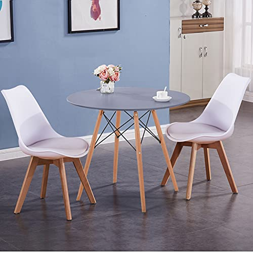 GOLDFAN Dining Table and Chairs Set 2 Modern Solid Wood Round Kitchen Table Chairs for Dining Room Office Lounge,White and Grey