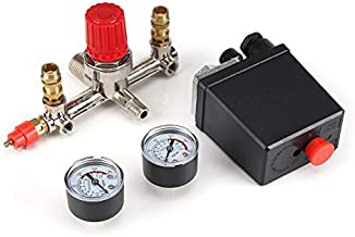 Air Compressor Switch - Air Compressor Pressure Control Switch Valve Regulator 90-120 PSI with Double Gauges