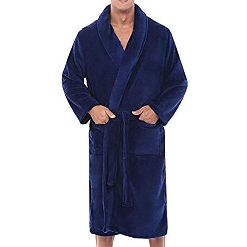 Delisouls Albornoz para hombre, bata de toalla para hombre, cálida de invierno de felpa, albornoz alargado para el hogar, ropa de ducha, bata larga