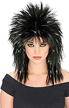 Rubie s Rockin Diva Wig with Tinsel Black/Silver One Size