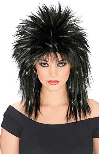 Rubie's Rockin Diva Wig with Tinsel, Black/Silver, One Size