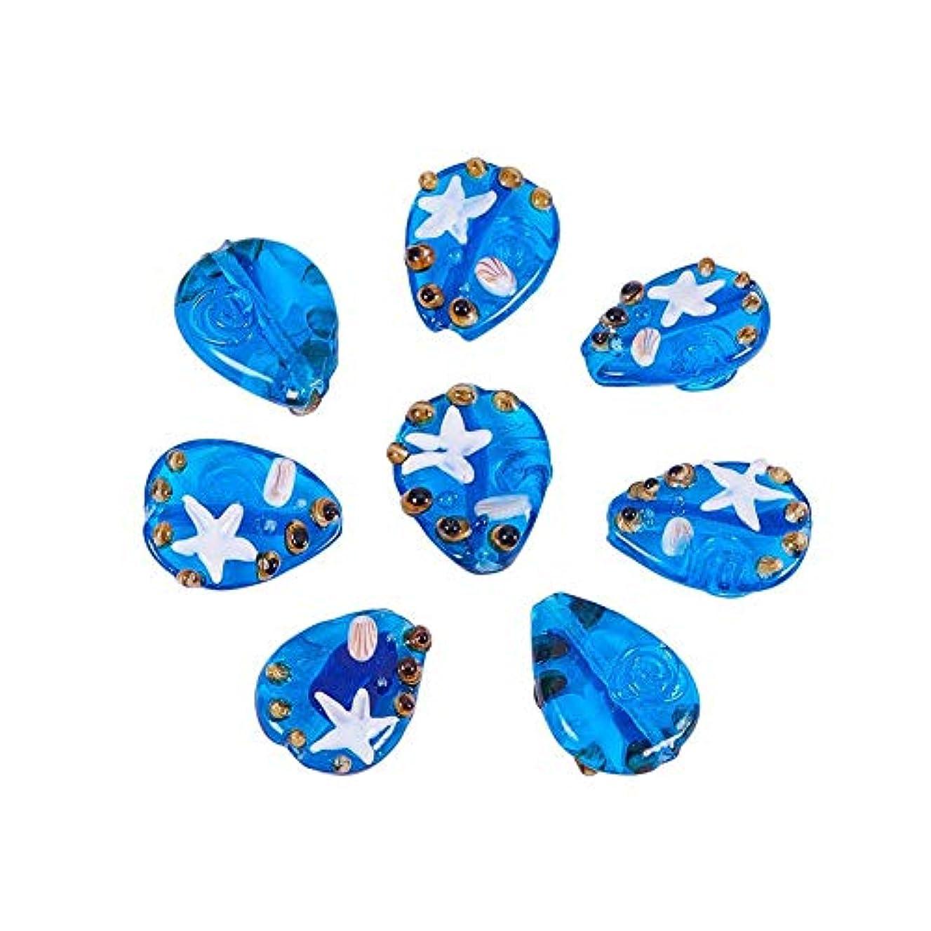 Pandahall 1 Box(12pcs) Ocean Style Drop Handmade Lampwork Beads RoyalBlue, 28~30x22~23x6~7mm, Hole: 2.5~3.5mm