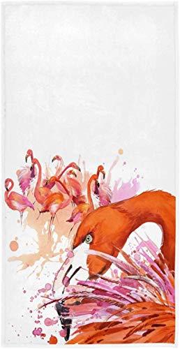 Toallas de Mano de Acuarela de Flamenco Rosa Toalla de baño de Primavera y Verano Ultra Suave Altamente Absorbente Toalla de baño pequeña Floral Sucio Plato de Cocina Toalla de invitado70×140cm
