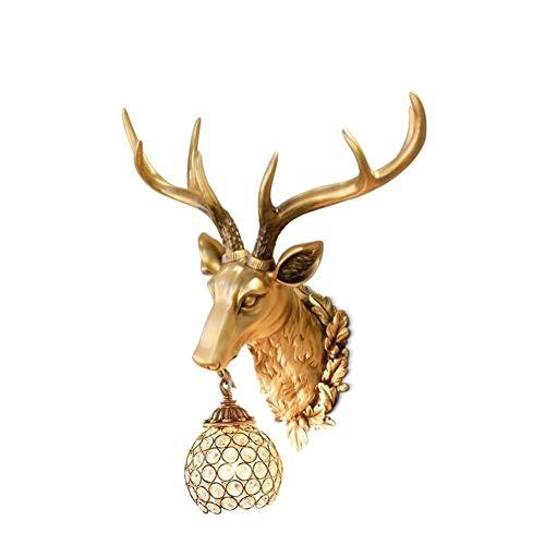 Cabeza de ciervo decorativa de pared para el hogar, cabeza de animal para colgar en la pared, 3D, talla de pared, lámpara de pared, 50 x 44 cm, cabeza de animal Mengheyuan