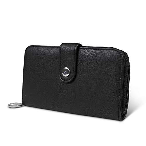 Nautica Be Shore Womens Wallet RFID Blocking Zip Around Clutch (Black 1)