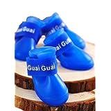 Ha Guai Guai ドッグ用 レインブーツ キャンディカラー 前後4足セット 小型犬用 M (青)