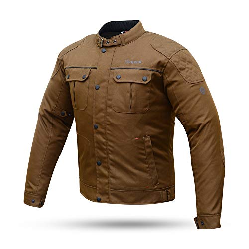 DEGEND LONDON Marrón | Chaqueta Moto Hombre con Protecciones - Chaqueta Impermeable Transpirable y Cortavientos - Ropa de Motociclista - Chaqueta Motera Hombre - Color marrón - Tallas (S-3XL)