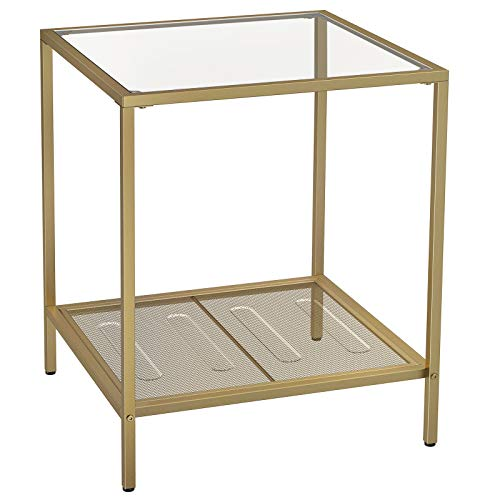 VASAGLE 2-Tier End Table, Side Table, Accent Table with Tempered Glass Top and Mesh Shelf, StableSteel Frame, for Living Room Bedroom,Gold and TransparentColourLGT030A01