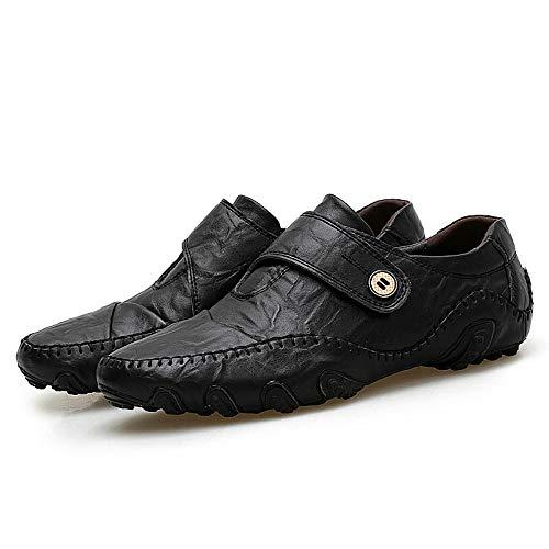 LIEBE721 Mocasines de Hombre Minimalistas en mocasín con Zapatos de Trabajo Antideslizantes, tamaño Negro/marrón 5-9.5