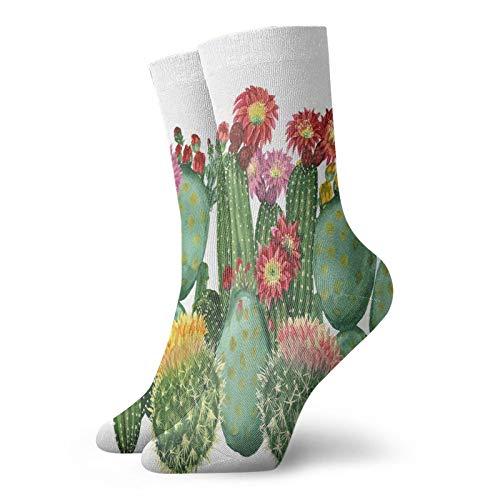 Soft Mid Calf Length Socks,Saguaro Barrel Hedge Hog Prickly Pear Opuntia Tropical Botany Garden Plants,Socks Women and Men Best for Running