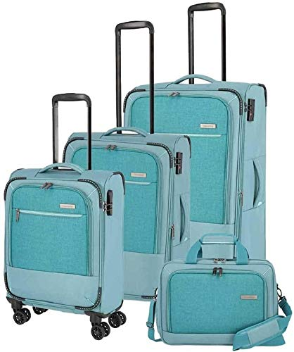 """Travelite Reisegepäck-Serie """"ARONA"""" attraktive Trolleys und Bordtaschen in 3 Farben Koffer-Set, 77 cm, 195 L, Aqua"""
