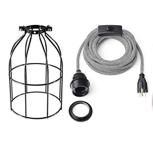 Lámpara de techo colgante de enchufe, casquillo E26 roscado con cable de tela de 15 pies y interruptor de palanca en línea, soportes de metal para foco, juego de jaula de hierro,...