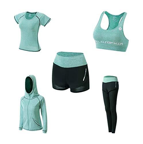 5PCS Yoga Kleidung Anzug Trainingsanzug Running Gym Winter Jogginganzug Fitness Kleidung Damen T-Shirts Tank Top Shorts Leggings Sweatjacke mit Kapuzen Sportswear-Sets, Grün, L