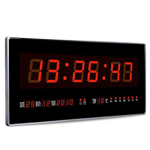 SSZZ Reloj Digital LED Rectangular, Digital Calendario Perpetuo Decorativo Reloj De Pared Electrónico, Fecha De Exhibición del Termómetro,Rojo