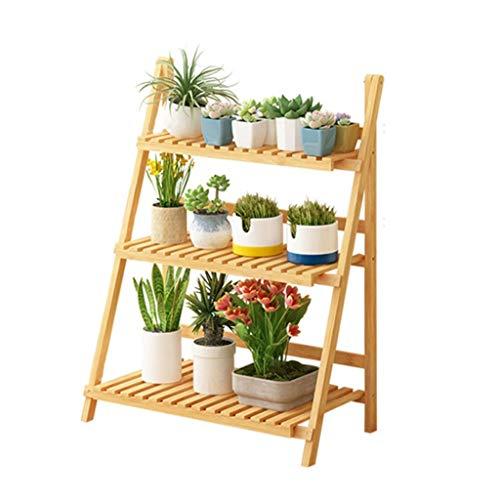 Support de Stockage de Fleurs Rack de Stockage de Plantes Plateau étagère échelle Affichage Stand de Fleurs en Bambou intérieur et extérieur de Taille de Support de Pliage 70x38x95 cm