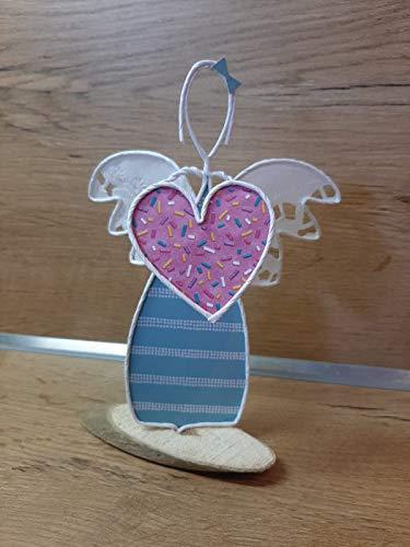 Engel Mädchen mit Herz aus Papierdraht auf Holzscheibe •Handarbeit•Geschenk•Handmade•Geburtstag•Engel•Figur•Kunsthandwerk