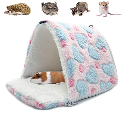 LeerKing Hamster Hammocks Rat House Bed Hut Warm Shed for Bird Squirrel Hedgehog Chinchilla Nest Tent,Pink,M