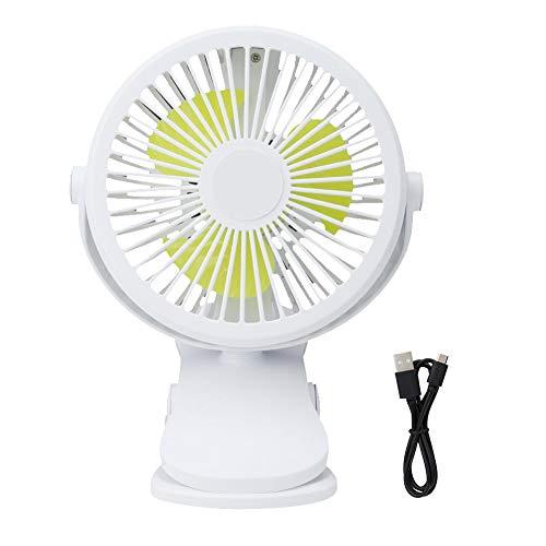 Wifehelper 360 graden draaibare mini-USB-ventilatorclip op het bureau met nachtlampje, kinderwagenventilator, perfecte kleine persoonlijke ventilator voor kinderwagen, tafel en outdoor