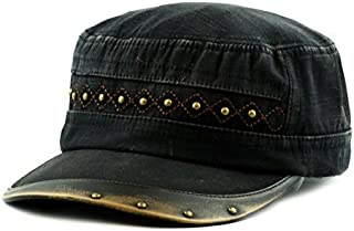 33e46d5c THE HAT DEPOT Cadet Cap- Light Weight Cotton Leather Accent Washed Military  Hat
