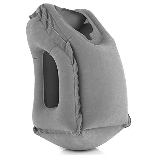 QIANG Neck Rest Inflatable Travel Sleeping Bag Portable Cushion Pillow The Third Generation Neck and Head Support Pillow Can Sleep on The Plane Train Car Interior (gray)